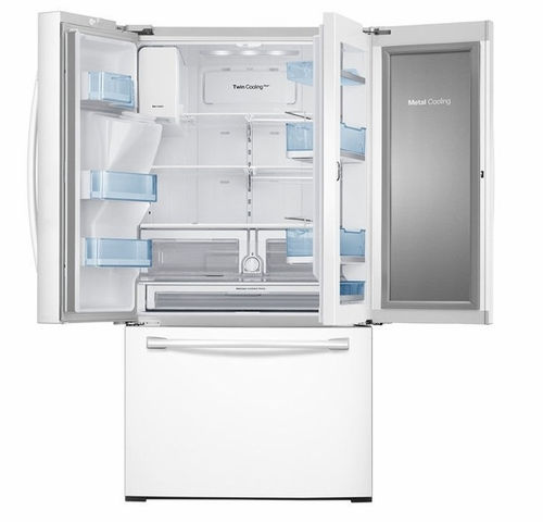 Samsung RF28DEDPWW French Door Refrigerator with Food Showcase feature and Metal Cooling.
